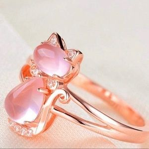 Rose Gold Plated Pink Cat Ring